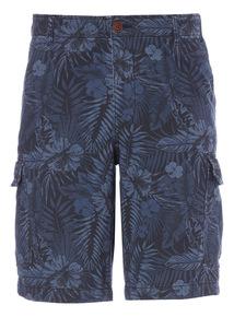 Navy Washed Pattern Cargo Shorts