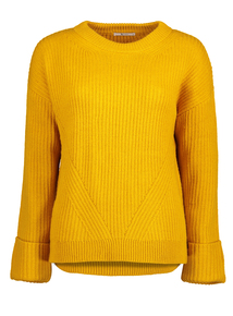 Yellow Ribbed Turn-Back Cuff Jumper
