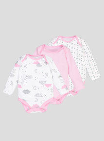 Pink & White Patterned Long-Sleeved Bodysuits 5 Pack (Newborn - 36 Months)