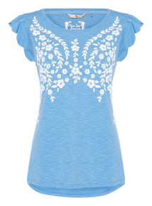 Blue Floral Print Sleep Tee