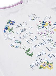 White Summer Meadow Glitter T-Shirt (9 months-6 years)