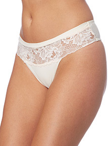 Cream Floral Soft Touch Thong