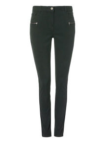 Green Brushed Zip Trouser