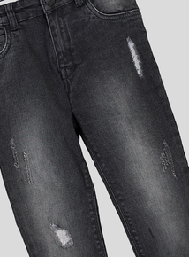 Black Distressed Skinny Stretch Jeans (3-14 years)