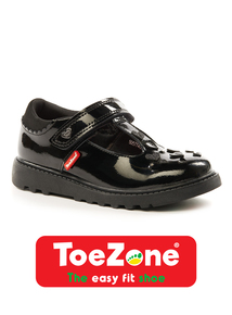 ToeZone Coated Leather Heart T-Bar Strap Shoes