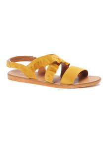 'Made In Italy' Suede Ruffle Sandal
