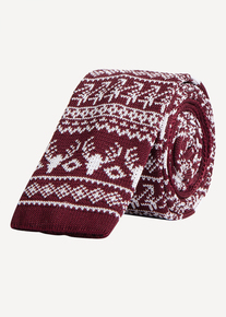 Online Exclusive Burgundy Fairisle Knitted Tie
