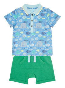 Multicoloured Polo Shirt And Shorts Set (0 - 24 months)