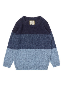 Boys Blue Colour Block Jumper (9 Months-6 Years)