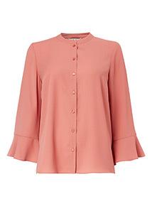 Pink Collarless Blouse
