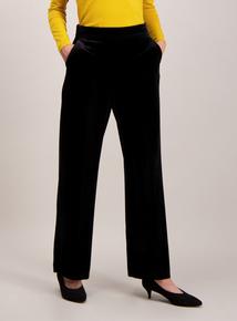 Online Exclusive Black Velvet Pull On Wide Leg Trousers