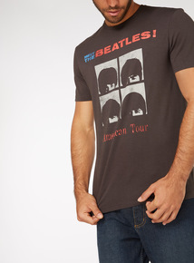 Black Beatles Print T-Shirt