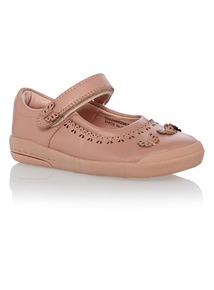 Girls Pink Leather Bumper Shoes