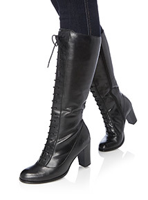 Black Leather Lace Up Heeled Boots
