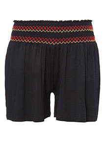Embroidered Waistband Shirred Shorts