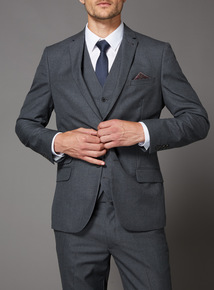 Online Exclusive Grey Textured Slim Fit 100% British wool Suit Jacket