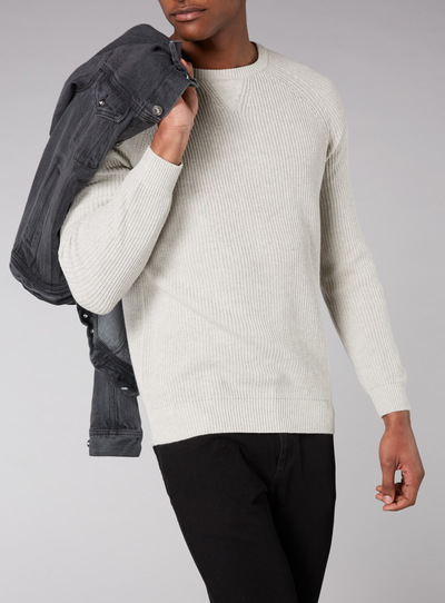 Admiral Grey Fisherman Knit Jumper