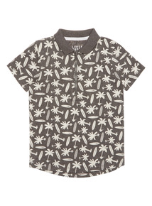 Boys Grey Palm Tree Surfboard Polo Shirt (9 months - 6 years)