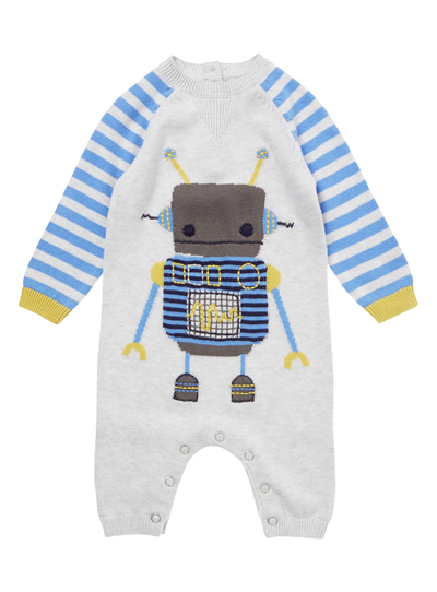 30acf4121353 Baby Boys Grey Robot Romper Suit (0-24 months)