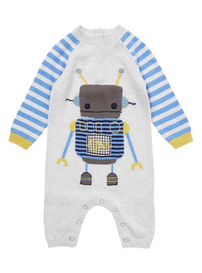 95a25b8cb Baby Boys Grey Robot Romper Suit (0-24 months)