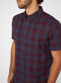 Dark Red Gingham Shirt
