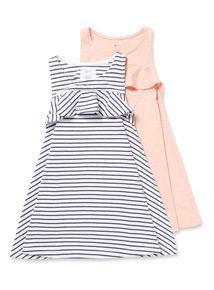 2 Pack Multicoloured Frill Trim Dresses (3-14 years)