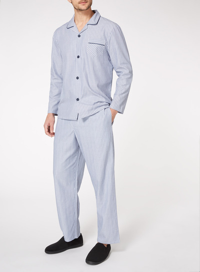 Light Blue Striped Traditional Pyjamas Set