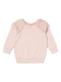 Pink Fur Shoulder Sweat Top (3-14 years)