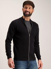 Black Cotton Zip Through Cardigan