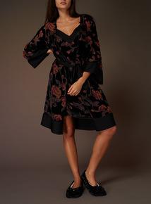 Premium Floral Devore Gown