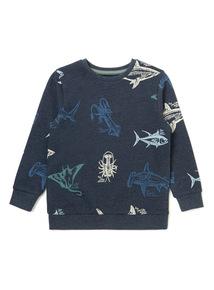 Navy Shark Sweat Shirt (3-14 years)