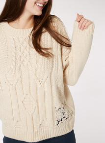 Lace Applique Knitted Jumper