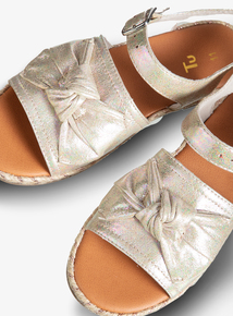 Sparkly Metallic Silver Bow Sandals (4 Infant - 12)
