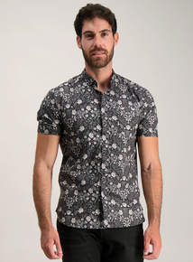 Frontman Monochrome Floral Print Slim Fit Shirt