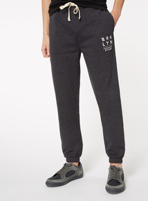 Charcoal Grey Printed Joggers