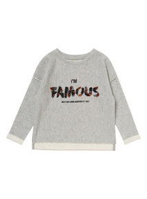 Girls Grey 'I'm Famous' Sweater (3-12 years)