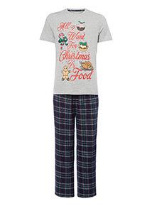 Grey Christmas All I Want Is Food Pyjama Set