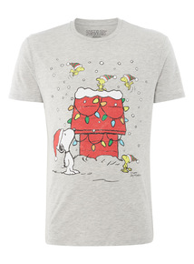 Grey Christmas Snoopy Tee