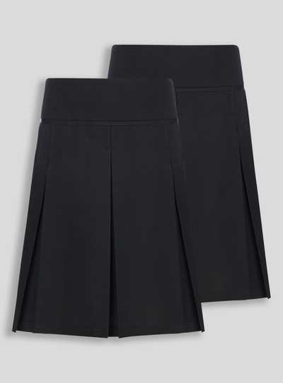 Black Generous Fit Pleated Skirt 2 Pack (3-12 years)