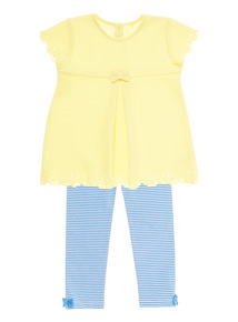 Girls Yellow Textured Top And Leggings Set (0-24 months)
