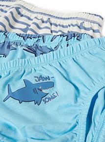 10 Pack Blue Shark Print Briefs (18 months - 6 years)
