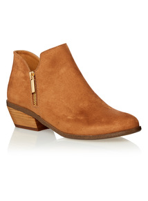 Tan Zipped Ankle Boots