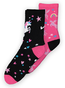 Multicoloured Unicorn Socks 2 Pack