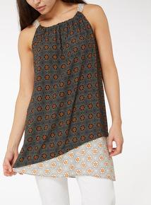 Multicoloured Sunrise Print Camisole Tunic