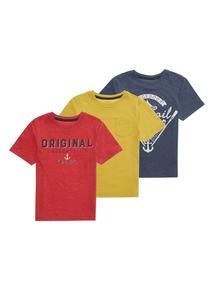 Boys Multicoloured Salcombe T-shirt 3 Pack (3-12 years)