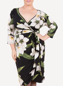 EMILY Black & Green Isabella Jersey Curve Wrap Dress