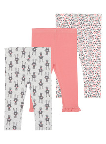 Girls White Bunny Leggings (0-24 months) 3 Pack