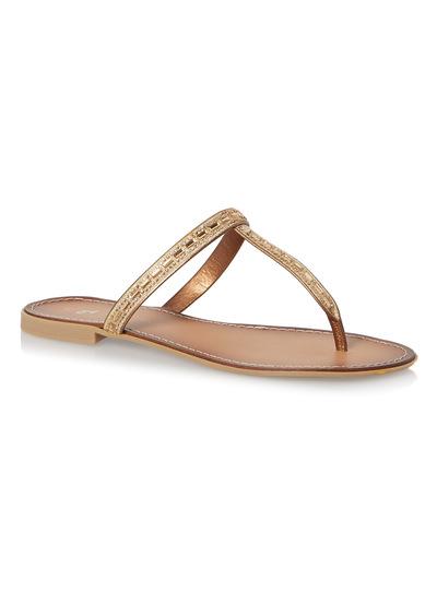 Metallic T-Bar Diamante Sandal