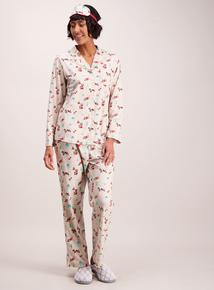 Christmas Beige Cat Print Pyjamas