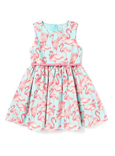 Multicoloured Flamingo Occasion Dress (3-14 years)